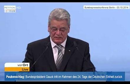 Rücktritt von Bundespräsident Joachim Gauck