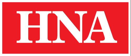 Schriftzug HNA, weisser Text auf rotem Untergrund, Bild mit weißem Rahmen