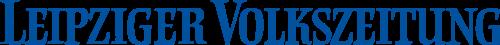 Schriftzug Leipziger Tageszeitung, blauer Text auf transparentem Untergrund
