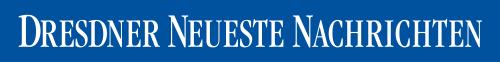 Schriftzug Dresdner Neueste Nachrichten, weißer Text auf blauem Untergrund