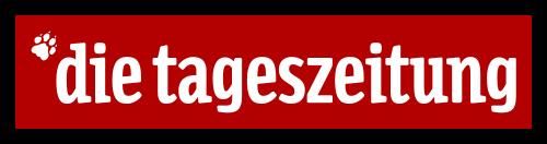 Schriftzug Die Tageszeitung, weißer Text auf rotem Untergrund, Fußabdruck eines Tieres in der linken oberen Ecke in weiß
